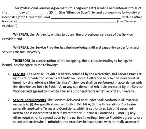 12 Professional Services Agreement Templates To Download Sle Templates Professional Services Template