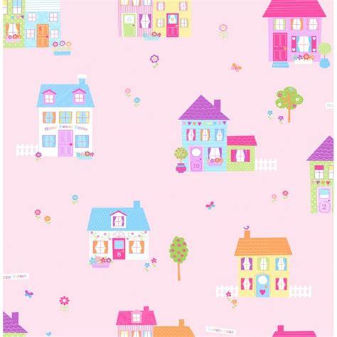 childrens wallpaper buy fine decor fun4walls happy street childrens wallpaper pink