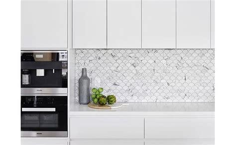 lovely Coffee Decor Kitchen Accessories #6: modern-kitchen-carrera-marble-fan-shaped-fish-scale-tile-backsplash.jpg