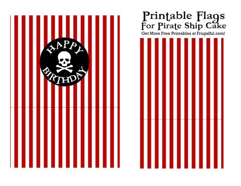 free printable birthday cake pirate flags for your pirate