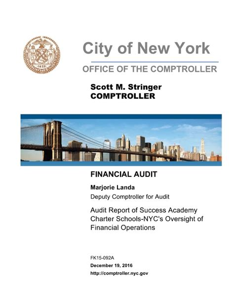 New Charter Mba by Audit Report Of Success Academy Charter Schools