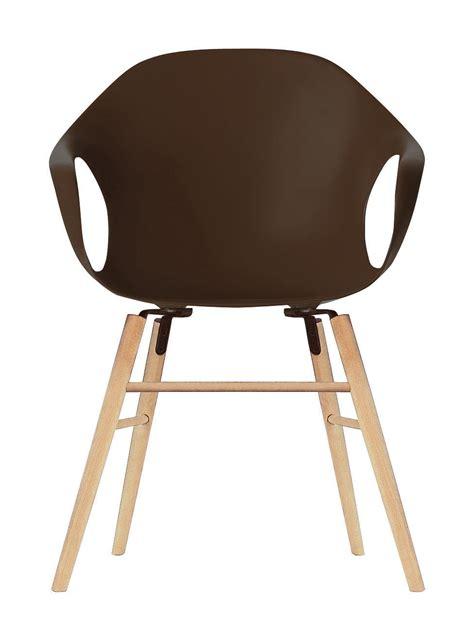Elephant High Chair by Elephant Wood Armchair Plastic Shell Wood Legs Brown
