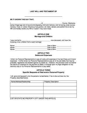Last Will And Testament Template For Married Bill Of Sale Form Oklahoma Last Will And Testament Form For Married Person With Minor Children
