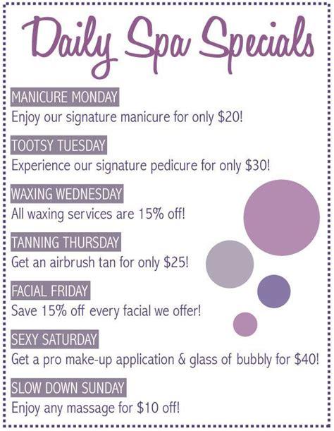 spa specials best 25 salon promotions ideas on salon