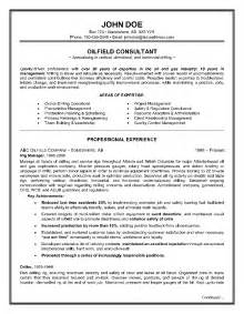Field Consultant Sle Resume by Exle Of A Oilfield Consultant Resume Sle