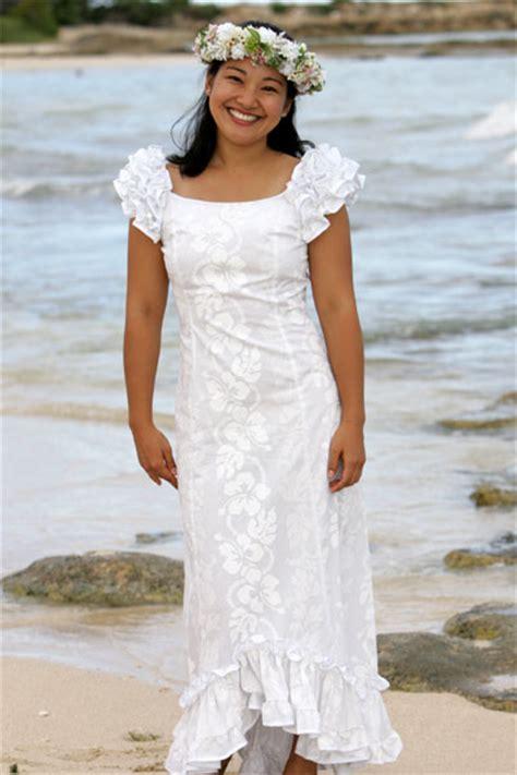 ruffle shoulder hawaiian wedding muumuu holoku