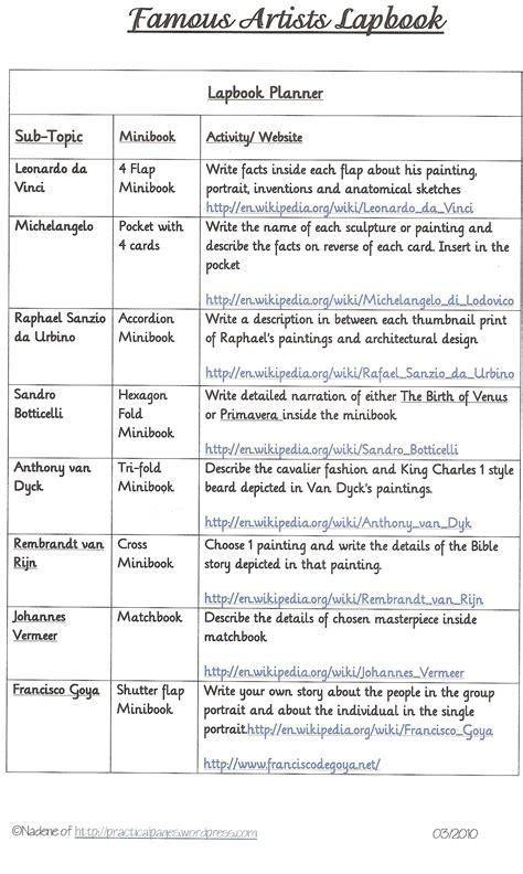 biographical comparative chart leonardo da vinci and michelangelo famous artists lapbook loads of minibooks practical pages