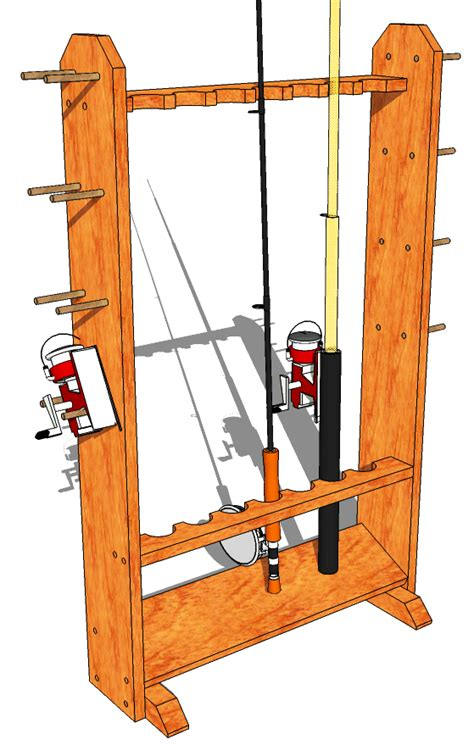 Wood Fishing Rod Rack Plans by Fishing Rod Stand 147 3d Woodworking Plans3d
