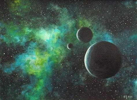 acrylic painting space original painting acrylic space green black moon