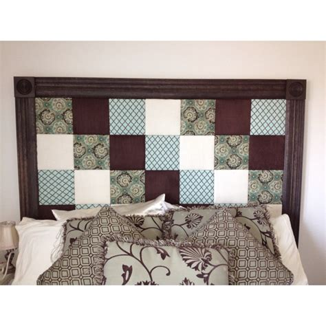 covered headboard homemade headboard can you tell fabric covered squares personally chose patterns put
