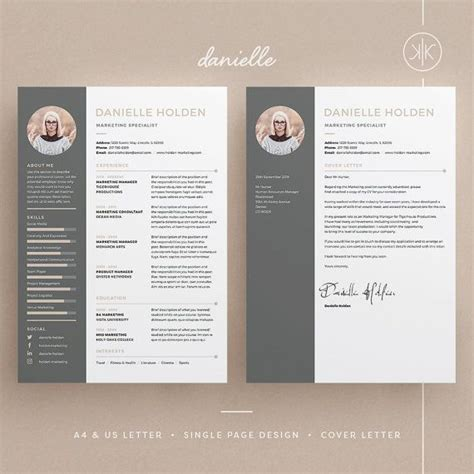 Danielle Resume Cv Template Word Photoshop Indesign Professional Resume Design Cover Indesign Letter Template