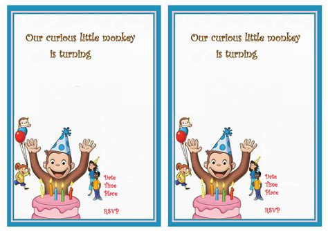 curious george invitation template curious george birthday invitations birthday printable