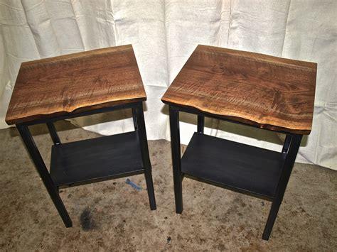 live edge walnut end tables with steel base shelf