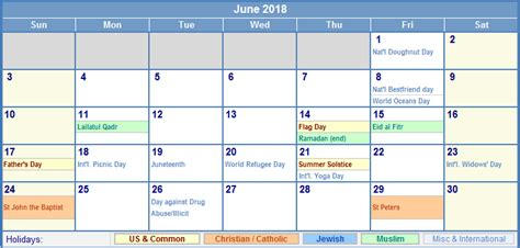 june 2018 calendar with holidays calendar printable free