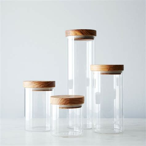 kitchen glass canisters with lids glass jars with wood lids set of 4 woods