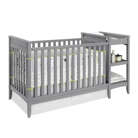 Crib With Change Table 2 In 1 Convertible Crib And Changing Table Combo Set In Gray Da6790