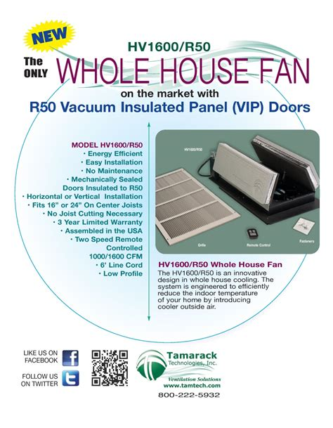 tamtech whole house fan hv1600 r50 insulated whole house fan
