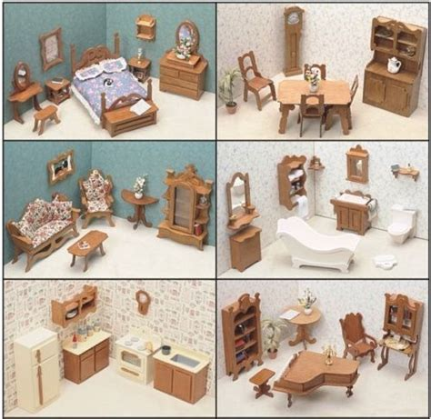 doll house furnishings dollhouse furniture kit set wood 6 six rooms dining bathroom bedroom kitchen lot ebay
