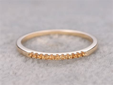 yellow citrine wedding ring solid 14k yellow gold pave set