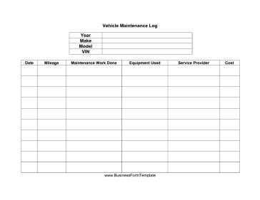 Vehicle Maintenance Log Template Vehicle Maintenance Log Template