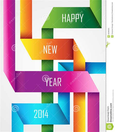 new year card design 2014 happy new year 2014 ribbon background stock vector