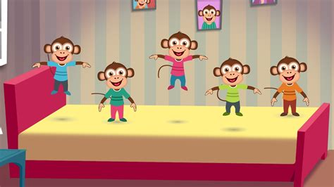 monkeys jumping in the bed five little monkeys jumping on the bed nursery rhyme cartoon animation rhymes songs