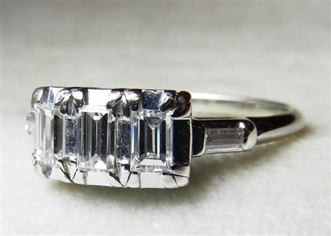 antique engagement ring 80 ct tdw emerald cut 14k