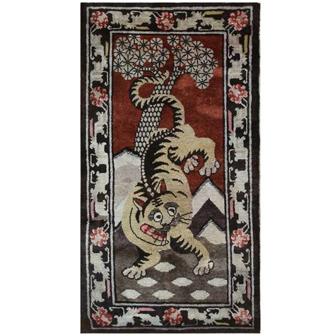 Antique Tibetan Rugs antique tibetan rug with tiger design for sale at 1stdibs