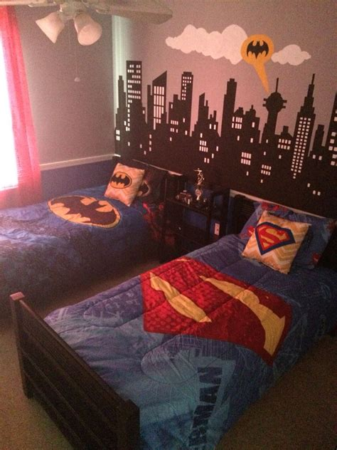 batman decorations for bedroom batman vs superman themed bedroom hand painted city