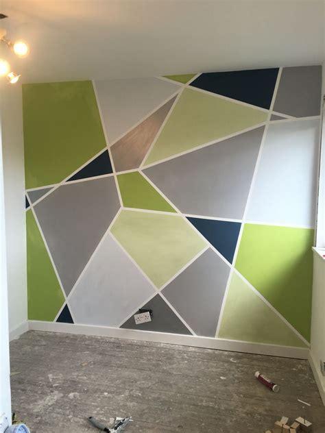 geometric painted wall grey silver powder blue apple