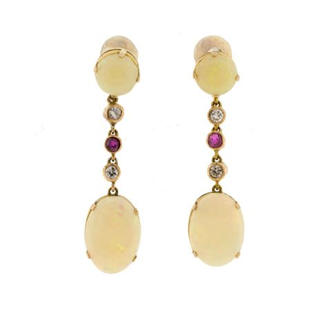 opal ruby drop earrings from lilas jewels uk