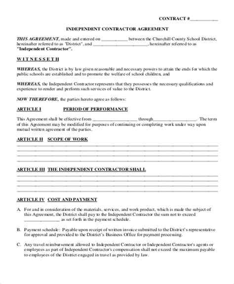 5 independent contract templates sle exles