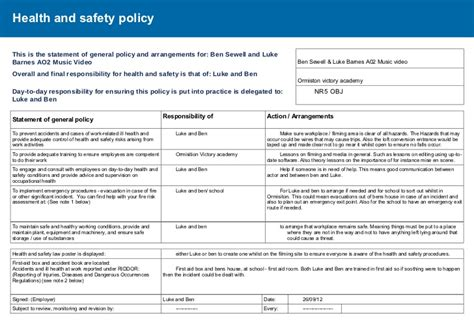 health and safety review template risk assessment health and safety