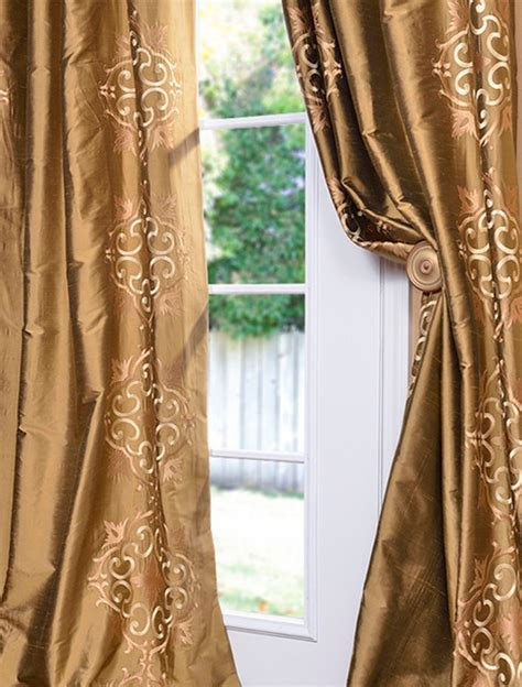 silk gold curtains cassandra taupe gold silk curtain traditional curtains