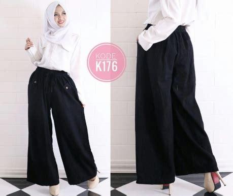 Celana Kulot Hitam Polos celana kulot polos k176 baju style ootd