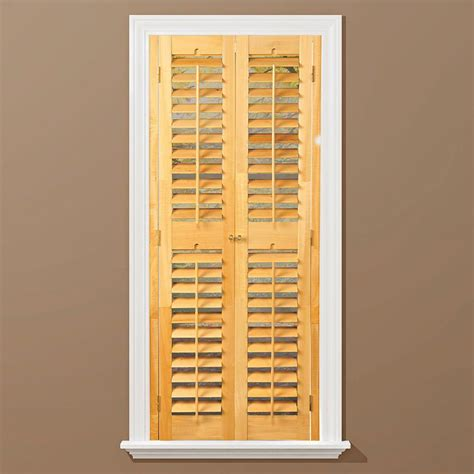 Homebasics Plantation Light Teak Real Wood Interior Home Depot Window Shutters Interior