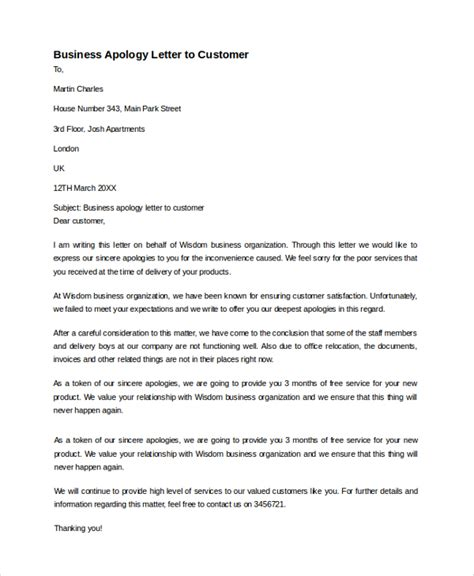 Apology Sle Letter Customer Sle Business Apology Letter 7 Documents In Pdf Word