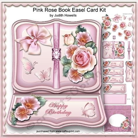 Open Book Easel Card Template by Pink Book Easel Card Kit Cup760236 1065 Craftsuprint