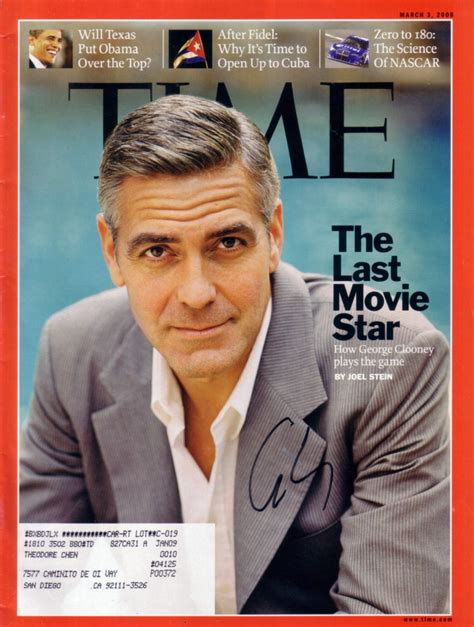actor last name george george clooney autographed 2008 time magazine actor