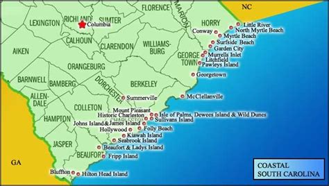 carolina map of beaches map of south carolina coast south carolina i live here