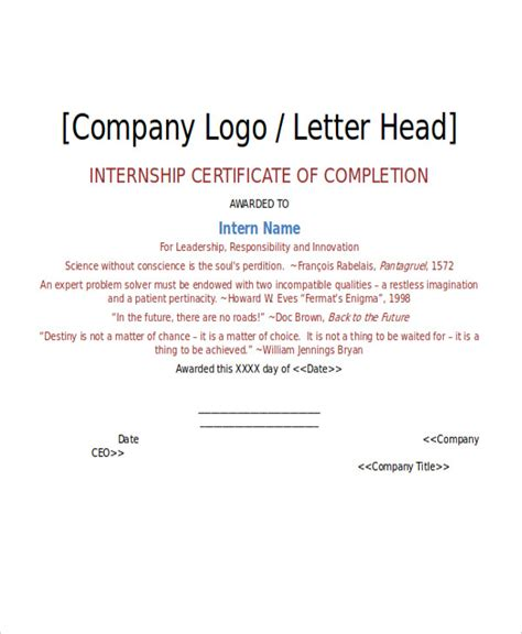 certification letter of completion 26 printable certificate templates free premium templates