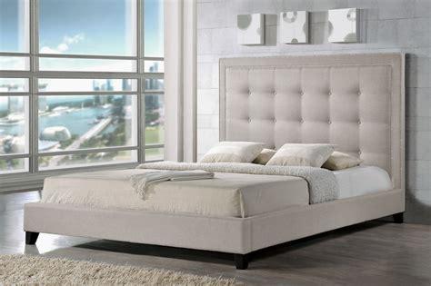 large white headboard baxton studio hirst light beige platform bed king size