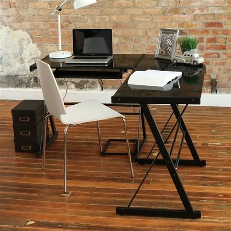 L Shaped Black Glass Desk Corner L Shaped Glass Top Computer Desk In Black D51b29