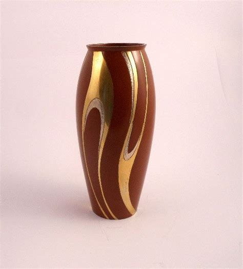 Decorative Silver P 8 vase metal japanese chokin style or damascene brown color with decorative