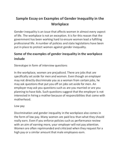 Gender Inequality Essays by Sle Essay On Exles Of Gender Inequality In The Workplace