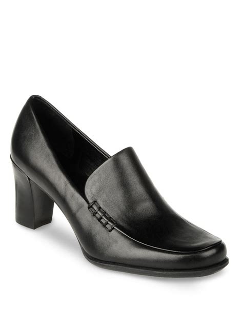 high heeled loafers black franco sarto nolan high heel leather loafers in black