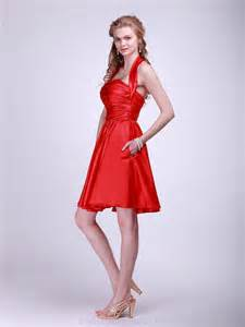 buy cheap a line halter satin red bridesmaid dress for girls