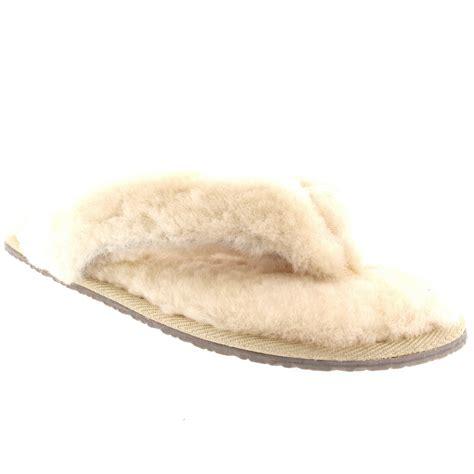 shearling flip flop slippers toe post sheepskin australian flip flops warm