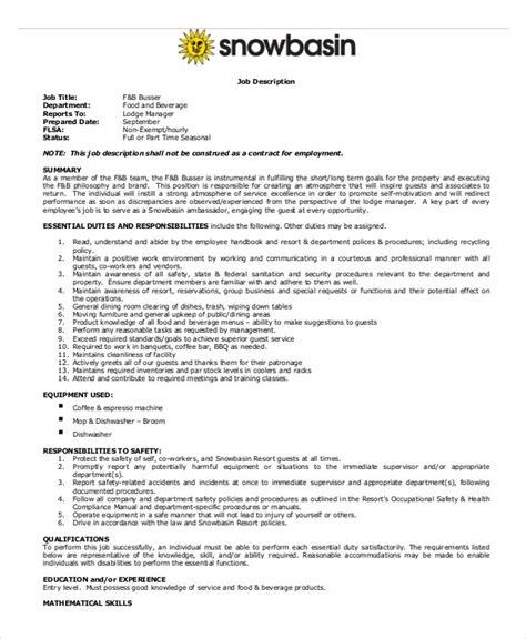 busser job description     documents