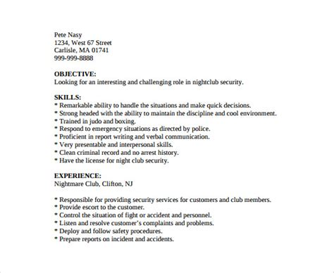 basic resume format for security guard security guard resume 7 free free documents in pdf word